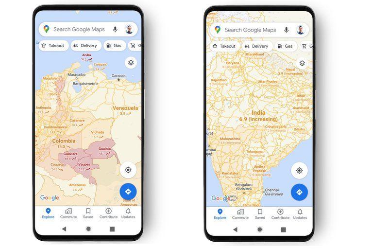 Google Maps informa en que áreas hay más o menos COVID-19